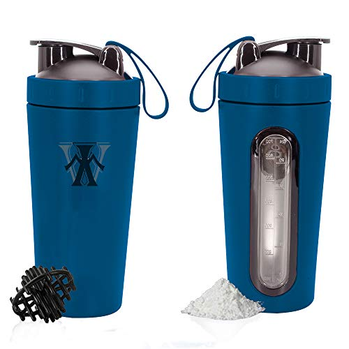 W Protein Sharker Bottle Stainless Steel with Transparent Scale and Handle for Women Men Fitness Exercise and Outdoor Sports 700ML Shaker Cup (Blue)