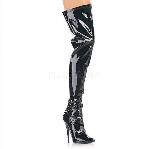 (Pleaser Women's Domina-3000 Boot,Black Patent,10 M)