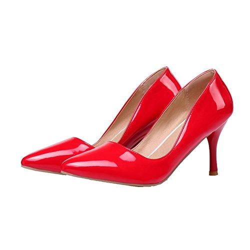 Pull scarpe Solido Pu Rosse Rotondo Amoonyfashion Donne Chiusa Punta Tacchi on Pompe FTvIyPKU