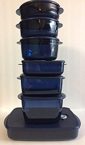 Tupperware Vent N Serve 7 pc Set Nocturnal Blue