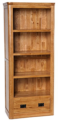 London Solid Oak 1 Drawer Large Bookcase in Medium Oak Finish   Tall Wooden Storage Bookshelf Hallowood Furniture