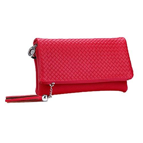 Donalworld - Bolso de mano de piel sintética para mujer, con borla, cremallera, compartimento triple rosa (b)