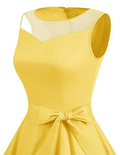 Mujer Fiesta 1950 Vintage Boda Retro Vestido Dresstells reg; Yelllow Sin Mangas Corto fnzWEF1wq