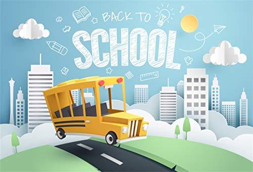 Yeele 10x8ft Vinyl Photography Background Back to School Season Chalk Drawing Sunshine White Cloud Grassland City Building Photo Backdrops Pictures Photoshoot Studio Props -