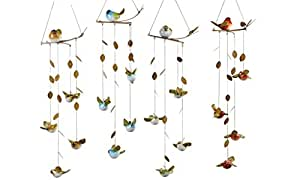Gift Craft 29.5-inch Polystone And Metal Bird-on-a-branch Design Wind Chimes, Large