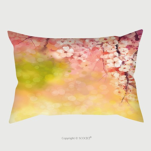Custom Satin Pillowcase Protector Watercolor Painting Cherry Blossoms Japanese Cherry Sakura Floral In Soft Color Over Blurred Nature Background. Spring Flower Seasonal Nature Background With B by chaoran