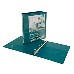 Wilson Jones Premium Single-Touch Locking D-Ring View Binder, 1 Inch, Customizable, Dark Teal (W86673PP)