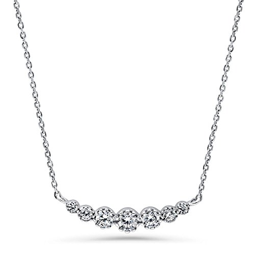 BERRICLE Rhodium Plated Sterling Silver Cubic Zirconia CZ Graduated Bubble Bar Pendant 16