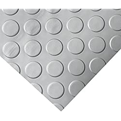 Rubber-Cal Coin Grip Metallic PVC Flooring, Silver, 2.5mm x 4' x 15'