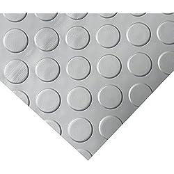 Rubber-Cal Coin Grip Metallic PVC Flooring, Silver, 2.5mm x 4' x 15'
