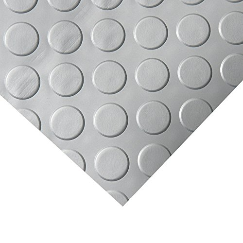 Rubber-Cal Coin Grip Metallic PVC Flooring, Silver, 2.5mm x 4' x 4'
