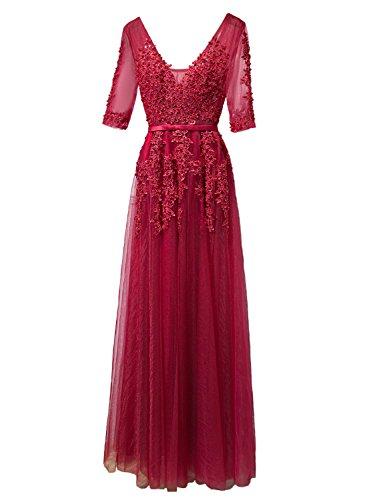Linie Bordeaux Ausschnitt Neu Ballkleid LuckyShe A Abendkleider Hochzeit Ärmel Elegant 2018 V für Lang mit Damen qwwZvR