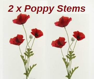 Set of 2 artificial bright red poppy silk flower sprays poppies set of 2 artificial bright red poppy silk flower sprays poppies with 3 heads per mightylinksfo
