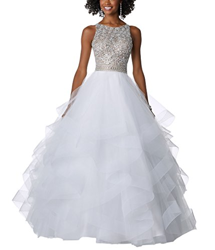 Beaded DreHouse Tulle Quinceanera Sweet Luxury Size Plus Gownsd Prom White 16 Women's 1qfrqwxEF