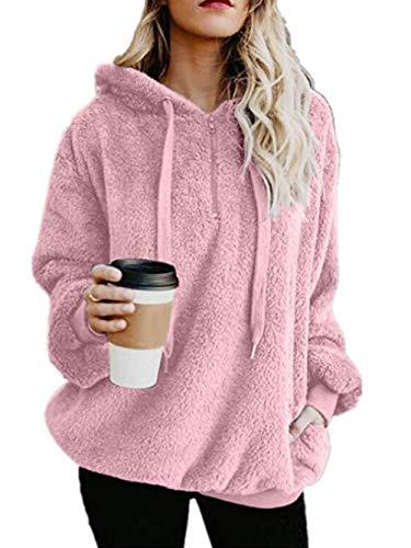 Famulily Women's Long Sleeve Zip Hoodie Sweatshirt Warm Fuzzy Fleece Pullover Sherpa Pink L