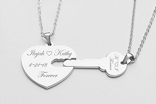Personalized Silver Heart & Key Necklace Set