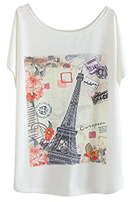 Cutiefox Women's Loose Fitted Printed Short Dolman Sleeve Tee Shirts