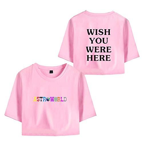 JJZHY Billboard Hot100 Astroworld Travis Scotts Crop Top T-Shirt Woman,Pink,L (Billboard Tshirt)