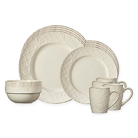 Christmas Tablescape Decor - White northport sea life embossed 16-pc dinnerware set by Pfaltzgraff