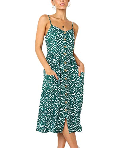 (Halife Womens Summer Dresses Casual Strappy Polka Dot Pattern Button Front Dress Green,XL)
