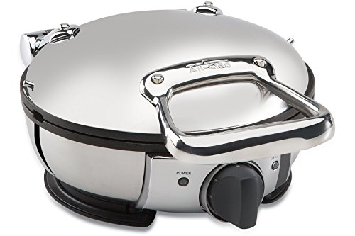 All Clad Wd700162 Stainless Steel Classic Round Waffle Maker With 7 Browning Settings 4 Section Silver