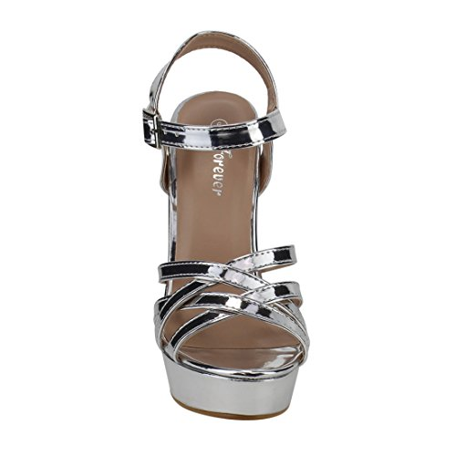 FOREVER FQ29 Womens Strappy Ankle Buckle Platform Wrapped Chunky Heel Sandals Silver gCFQ7NeGDt