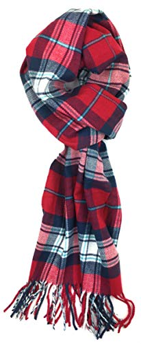Plum Feathers Plaid Check and Solid Cashmere Feel Winter Scarf (Red-Blue Tartan -