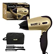 Bauer Professional 38850 TourmaPro Travel Set / Compact 1200W Hair Dryer With Soft Touch Carry Case, Hairbrush & Comb…