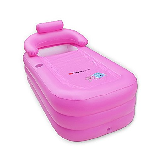 URUOI Environmental PVC Inflatable Bath Tub Folding Portable Large enough for an Adult and a Baby Light Pink by uruoi