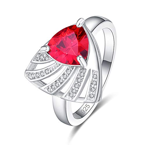 Contemporary Trillion Ring - Muiane 925 Sterling Silver Created Garnet Filled Trillion Cut Contemporary Unique Statement Ring for Women