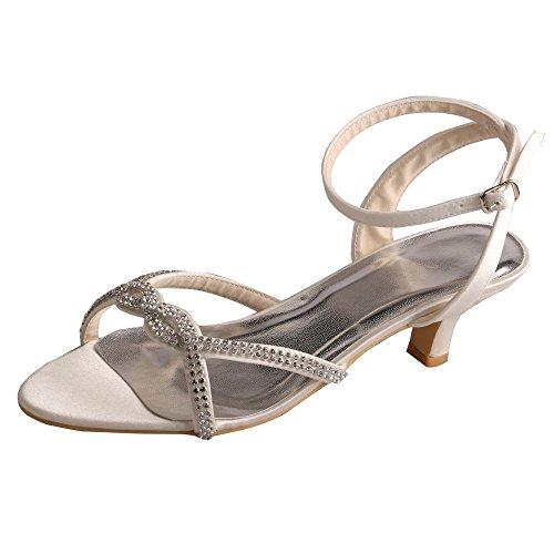 Wedopus MW753 Women's Low Heel Ankle Strap Rhinestone Summer Satin Wedding Party Sandals Ivory By7d3Apq