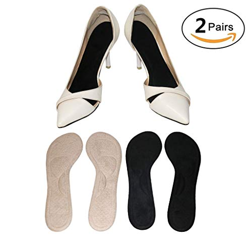(Silicone High Heel Inserts for Women Wear Boots Pumps Flats,Fannel Shoe Insoles,No Slip,Self Adhesive,Relief Pain Blister Callus Corns (2 Pairs))