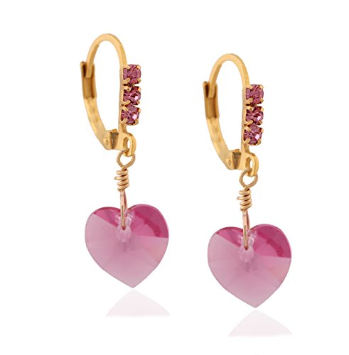 Surgical Steel Swarovski Earrings Heart Dangle Drop Earrings for Women and Girls Colors Available