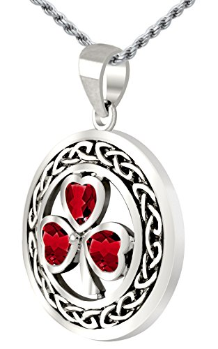 US Jewels And Gems 0.925 Sterling Silver Irish Shamrock Clover Synthetic Ruby Pendant (Ruby Clover Pendant)