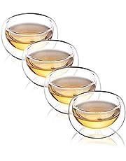 CnGlass Double Wall Glass Tea Cups Set of 4,Asian Insulated Clear Teacups,3.4oz 100ML