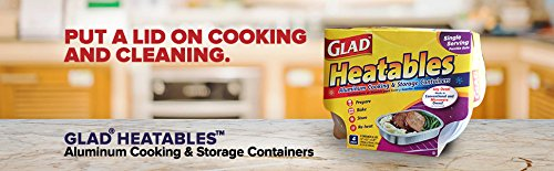 Glad Heatables with Lids, Reusable Aluminum Cooking & Storage Containers, Conventional & Microwave Oven Safe, Dishwasher Safe, Medium, Pack of 4 by Glad (Image #4)