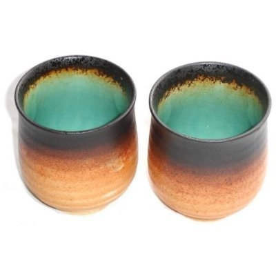 Happy Sales HSTC-MGTRQ2 Japanese Green Kosui Teacups Mugs (Set of 2), Turquoise