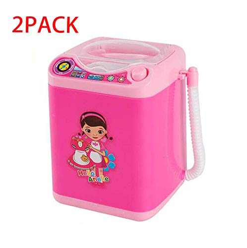 2019- Makeup Brush Cleaner Device Automatic Cleaning Washing Machine Mini ToyBeauty Sponge Washer Machine | Electronic Blender Makeup Cleaner (Pink) (2PC)