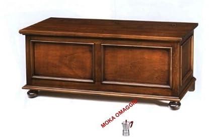 CLASSICO cassapanca in legno massello tinta noce per soggiorno ...