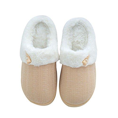 Nine Cif Mujeres Fuzzy Winter Slippers Zapatillas Para Casa Al Aire Libre Beige
