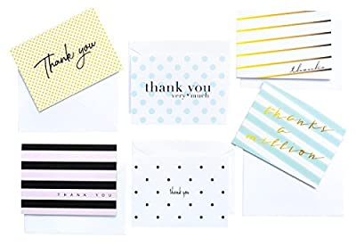 Modern Chic Thank You Cards, Set of 36 Thank You Notes, 6 Assortment of Stripes and Polka Dot Designs, Blank Inside with White Envelopes (Multicolor)