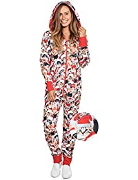 Women's and Men's Unisex Meowy Catmus Ugly Christmas Sweater Party Jumpsuit - Adult Christmas Cat Onesie