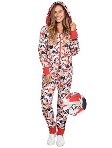 Unisex Adult Cat Christmas Jumpsuit - Funny Cat Xmas PJ's Pajamas for Christmas Morning: XX-Large for $<!--$69.95-->