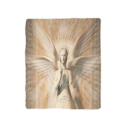 Kisscase Custom Blanket Sculptures Statue Of Angel Woman in Medieval Holy Cathedral Vintage Style Myth Decoration Bedroom Living Room Dorm Tan