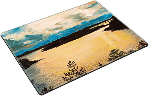 MSD Place Mat Non-Slip Natural Rubber Desk Pads design 35891734 Stain Resistance Kit Kitchen Table Top Desk C oil painting on canvas sunset on the lake abstract drawing performed in the by MSD