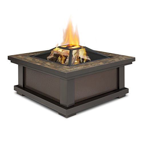 Slate Tile Outdoor Wood Burning Fire Pit | Enjoy a Bonfire in the Comfort of Your Backyard! Comes Complete with Spark Screen, Log Poker Tool and Vinyl Storage Cover by Real Flame (Image #2)