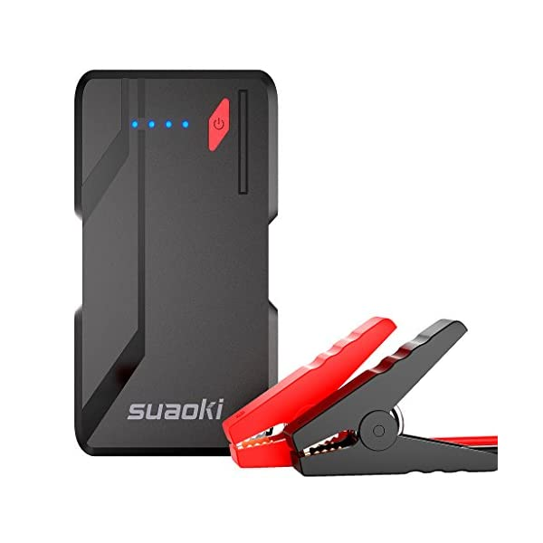 SUAOKI P4 500A Peak Car Jump Starter (5.0L Gas Or 2.0L Diesel) 10800mah Power Packs And Auto Battery Booster With QC 3.0, In&Out Type C 5V/3A And Flashlight, UL Certified