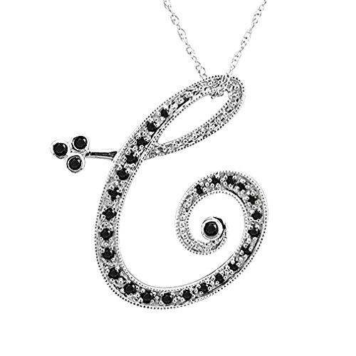 14k White Gold Alphabet Initial Letter C Black Diamond Pendant Necklace (1/5 Carat)