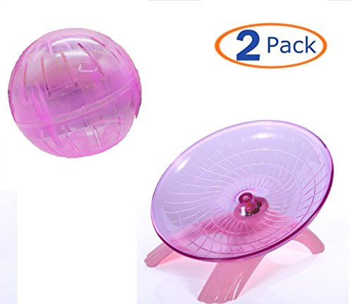 Hamster Toys Flying Saucer Exercise Wheel Toy Ball for Small Animal,Exercise Running Wheel Jogging Silent Spinner for Hamsters Rat Gerbils Mice Chinchilla Guinea Pig Squirrel(Pack of 2) (pink)