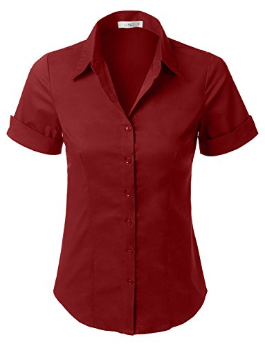 - LE3NO Womens Tailored Short Sleeve Button Down Shirt With Stretch,L3nwt575a_burgundy,Large